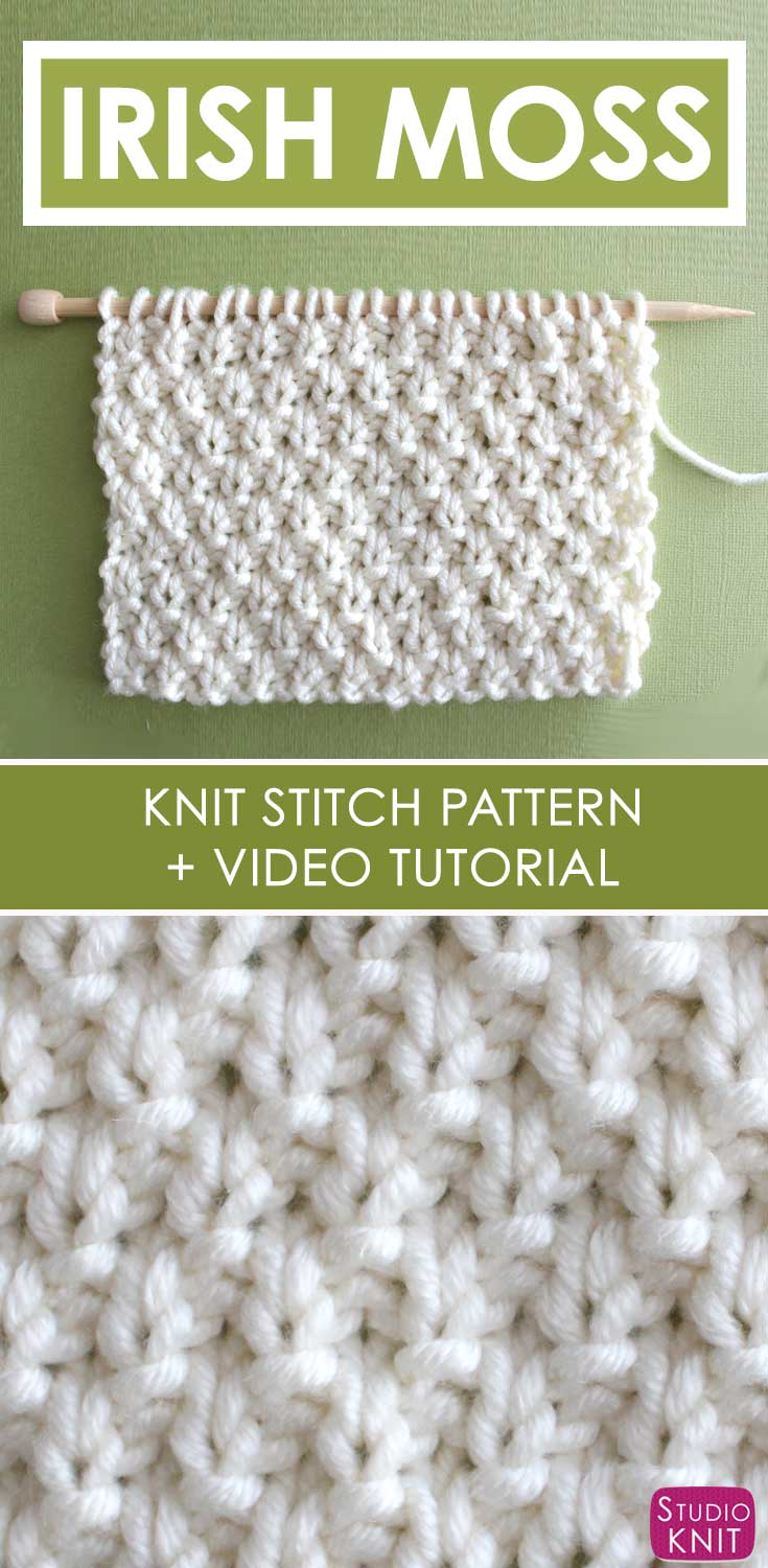 How to Knit the Irish Moss Knit Stitch Pattern with Video Tutorial ...