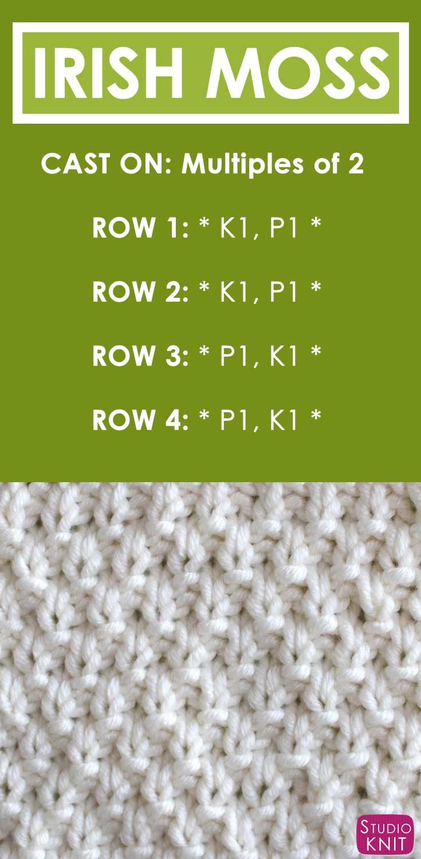 How to Knit the IRISH MOSS Stitch Free Knitting Pattern + Video Tutorial by Studio Knit #StudioKnit #KnitStitchPattern #FreeKnittingPatterns #irishmoss