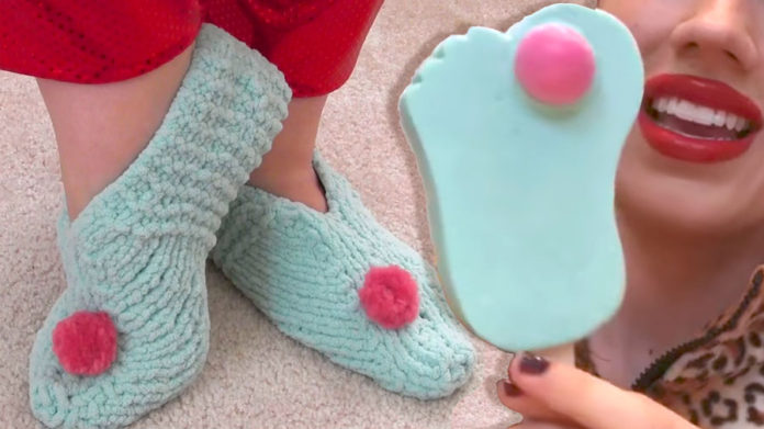 Froze Toes Knitted Slippers for Miranda Sings of Haters Back Off by Studio Knit.