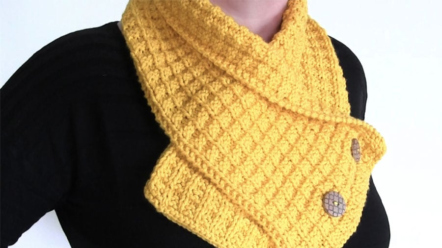 Knit A Waffle Neck Warmer Scarf Pattern With Video Tutorial Studio