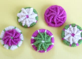 How to Craft YARN DORSET BUTTONS with instructional video tutorial by Studio Knit