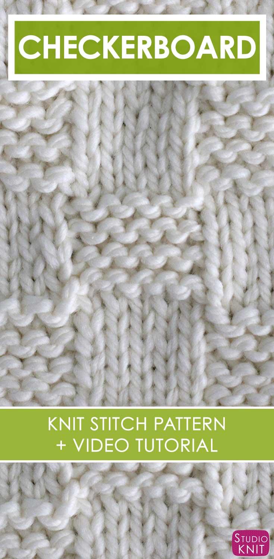 Garter Checkerboard Stitch Pattern with Video Tutorial | Studio Knit