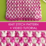 How to Knit the Linen Stitch 2 Yarn Colors with Free Written Pattern and Video Tutorial by Studio Knit.