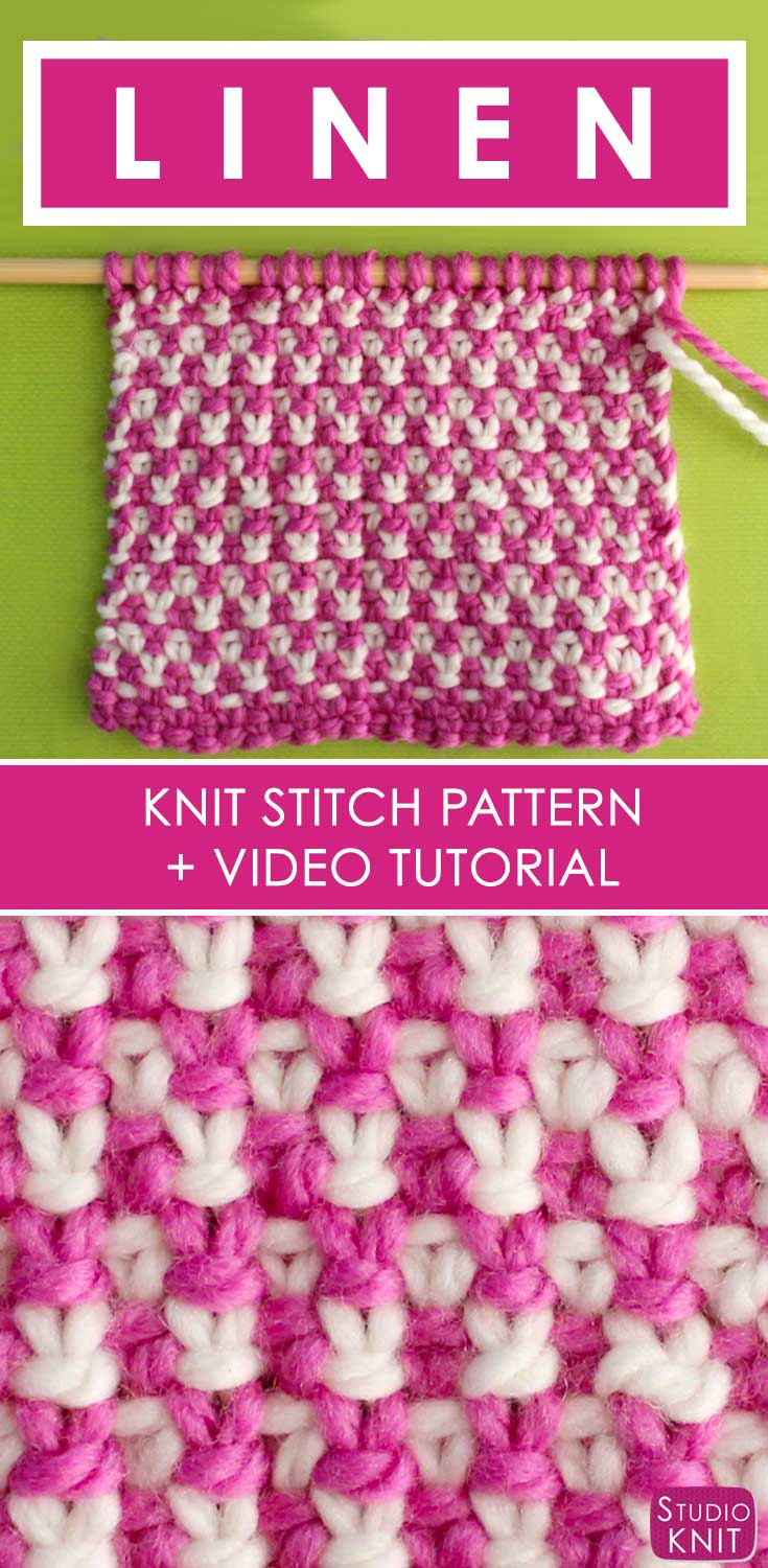 How to Knit the 2 Color Linen Stitch Pattern with Video Tutorial ...