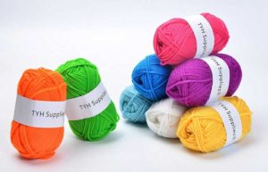 TYH Supplies 8 Skeins Bonbons Yarn Assorted Colors 32g (70yd) the yarn it is 100% Acrylic (Rainbow)