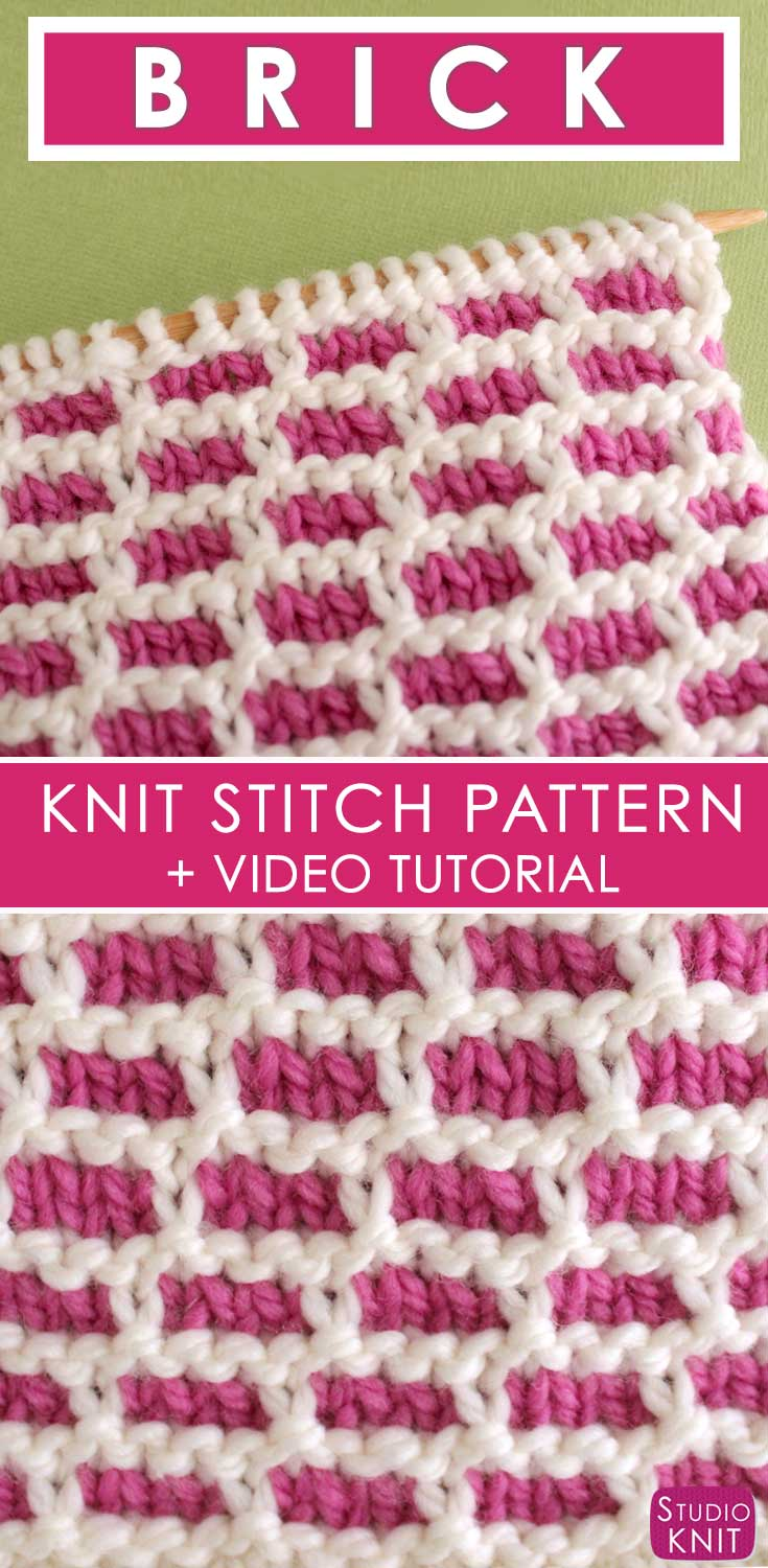 How to Knit the BRICK Stitch with Free Written Pattern and Video Tutorial by Studio Knit. #knitstitchpattern #studioknit #freeknittingpattern