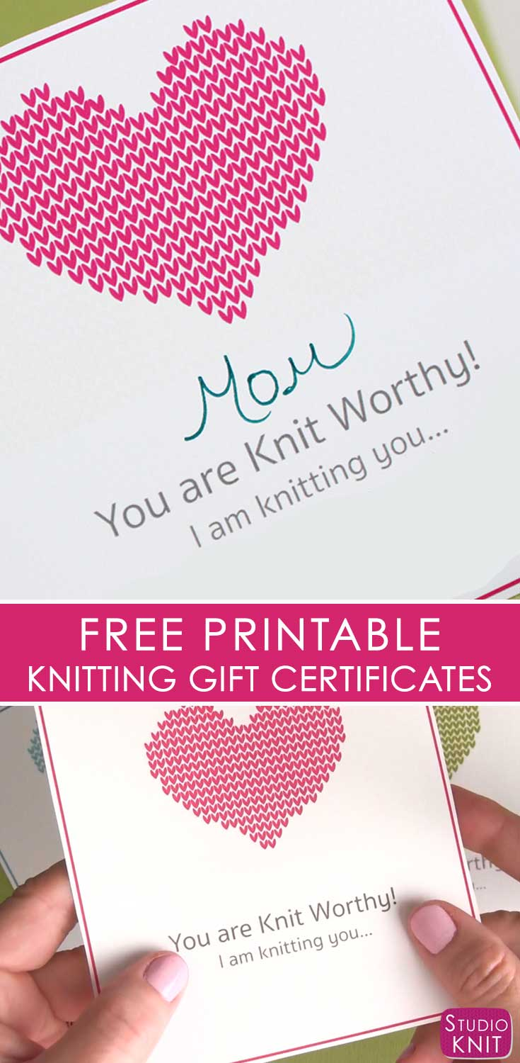 Looking to finish up all your knitted gifts now? Get your Free Knitting Gift Certificate Printable download by Studio Knit. Your loved ones will be excited to learn they will soon receive a new knitted gift from you!