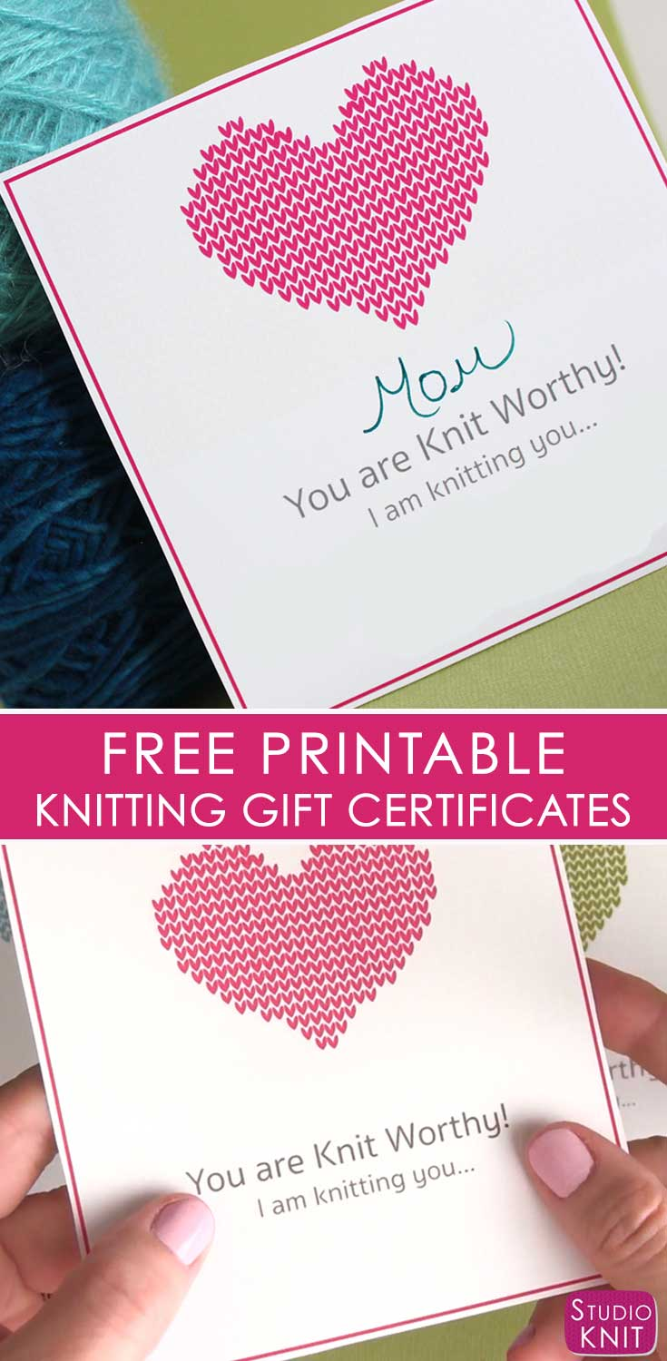 Looking to finish up all your knitted gifts now? Get your Free Knitting Gift Certificate Printable download by Studio Knit. Your loved ones will be excited to learn they will soon receive a new knitted gift from you! #StudioKnit #ChristmasKnitting #knitting