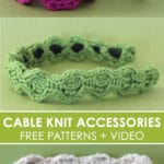 I love making Quick Knit Cable Accessories from the simple Honeycomb Stitch with Free Written Pattern and Video Tutorial by Studio Knit. #knitting #accessories #freeknittingpattern #studioknit