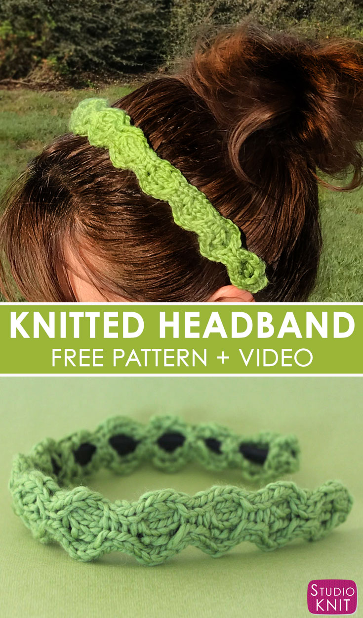 I love making Quick Knit Cable Headband Accessories from the simple Honeycomb Stitch with Free Written Pattern and Video Tutorial by Studio Knit. #knitting #accessories #freeknittingpattern #studioknit
