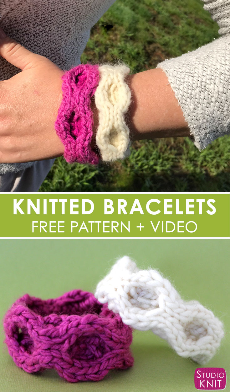 I love making Quick Knit Cable Bracelet Accessories from the simple Honeycomb Stitch with Free Written Pattern and Video Tutorial by Studio Knit. #knitting #accessories #freeknittingpattern #studioknit