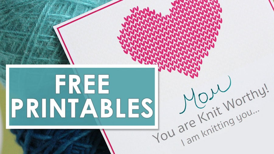 Free Printables knitting gift certificate with heart stitch design to Mom with hand writing that she is knit worthy.
