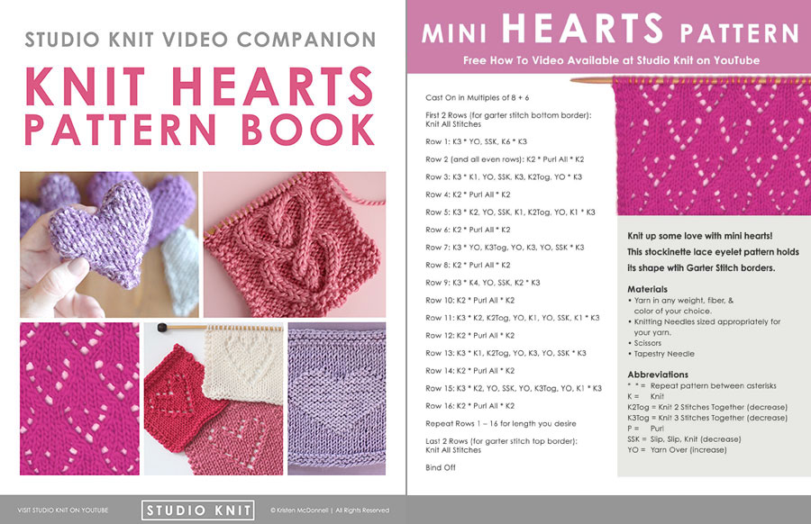 Knit Hearts Pattern Book by Studio Knit