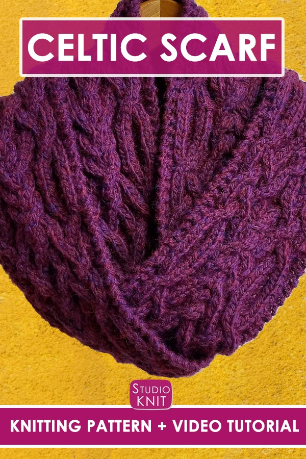 Fancy Celtic Cable Scarf Knitting Pattern and Video Tutorial by Studio Knit