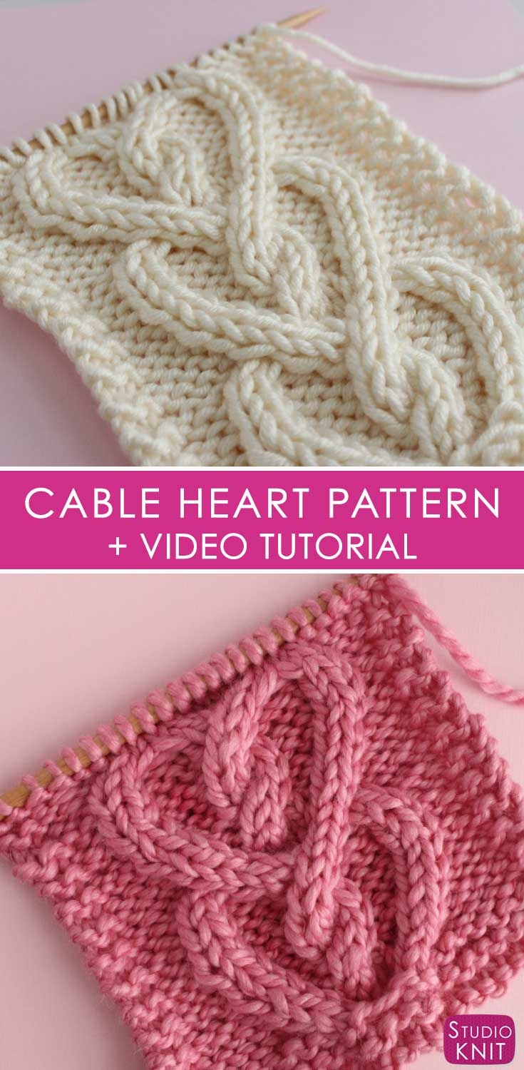 Cable Heart Stitch Knitting Pattern Studio Knit