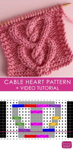 How To Knit A Cable Heart Stitch Pattern With Video Tutorial