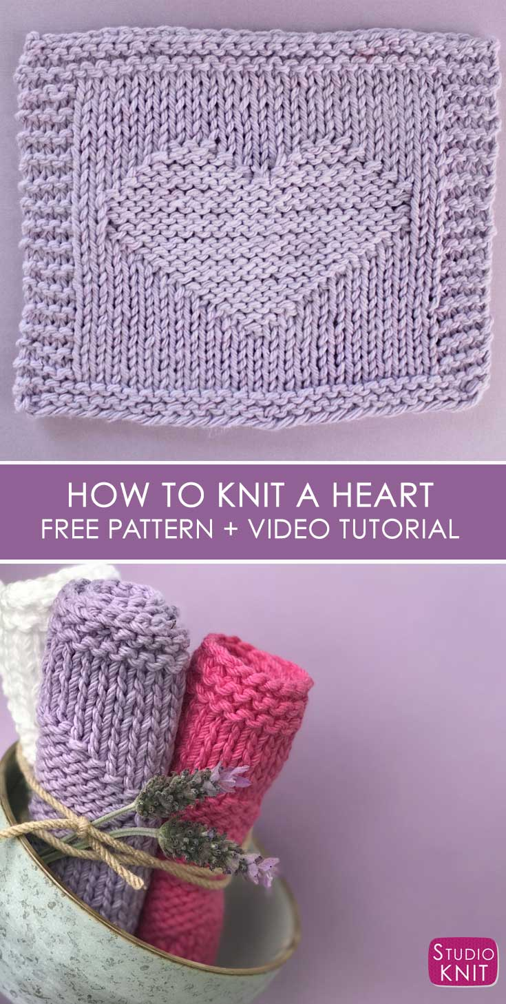 Easy Heart Knit Stitch Pattern by Studio Knit with Free Pattern and Video Tutorial.