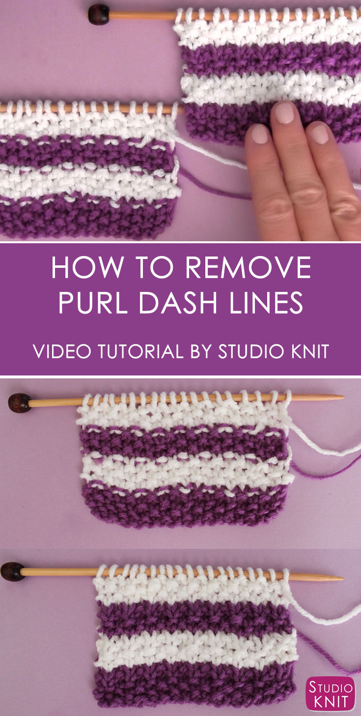 How to Remove Purl Dash Lines in Knitting with Studio Knit