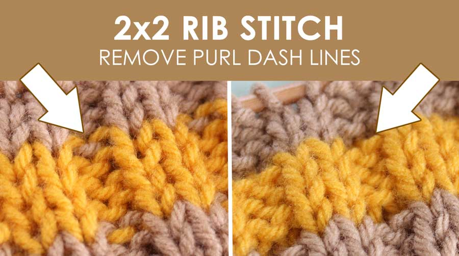 2x2 Rib Knit Stitch Pattern with Stripes. How to Remove Purl Dash Lines - Knit Stripes with Studio Knit