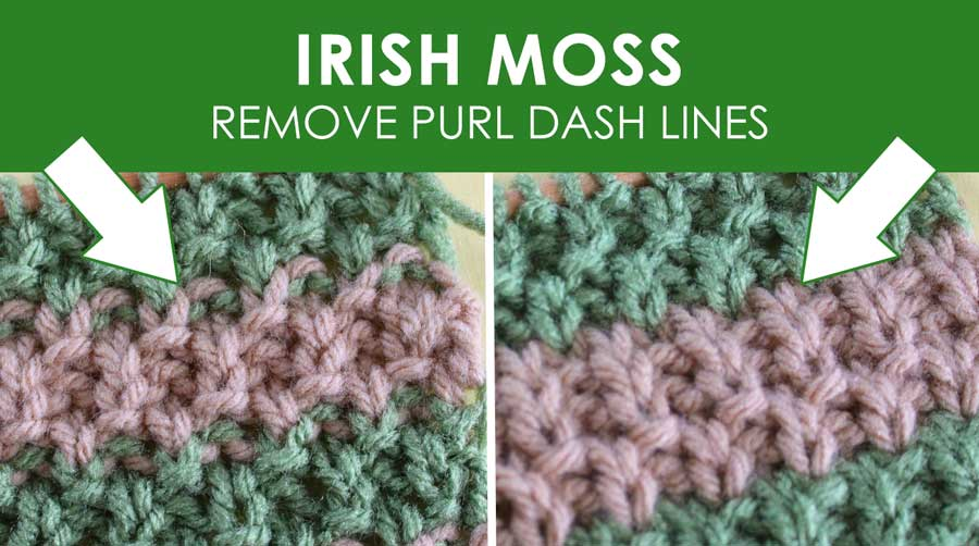 Irish Moss Knit Stitch Pattern with Stripes. How to Remove Purl Dash Lines - Knit Stripes with Studio Knit
