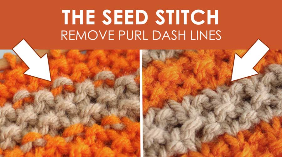 Seed Knit Stitch Pattern with Stripes. How to Remove Purl Dash Lines - Knit Stripes with Studio Knit