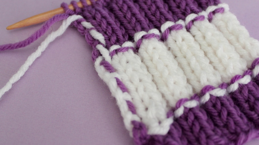 How to Knit Stripes with Studio Knit - Wrong Side of 2x2 Rib Stitch Pattern