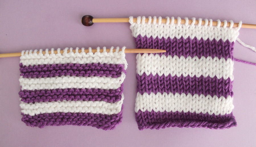 How to Knit Stripes with Studio Knit - Garter and Stockinette Stitch Patterns