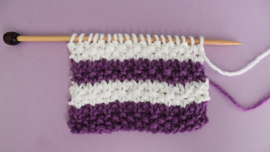 How to Knit Stripes with Studio Knit - Seed Stitch Pattern