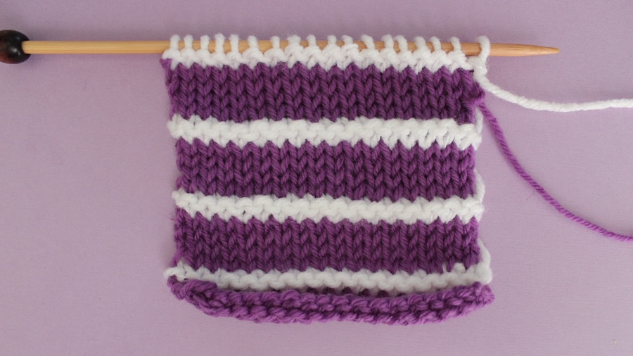 How to Knit Stripes with Studio Knit - Stockinette with Garter Stripes Stitch Pattern
