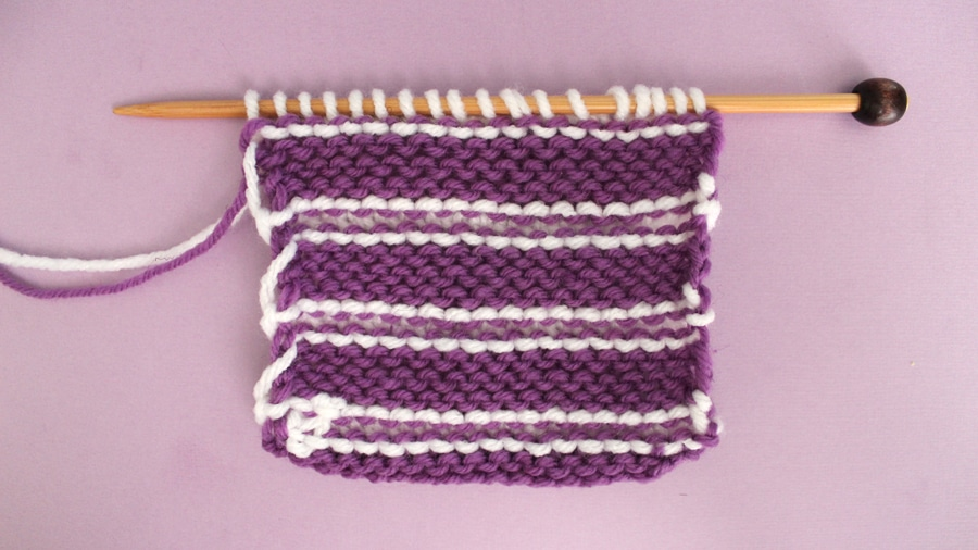 How to Knit Stripes with Studio Knit - Wrong Side of Stockinette with Garter Stripes Stitch Pattern