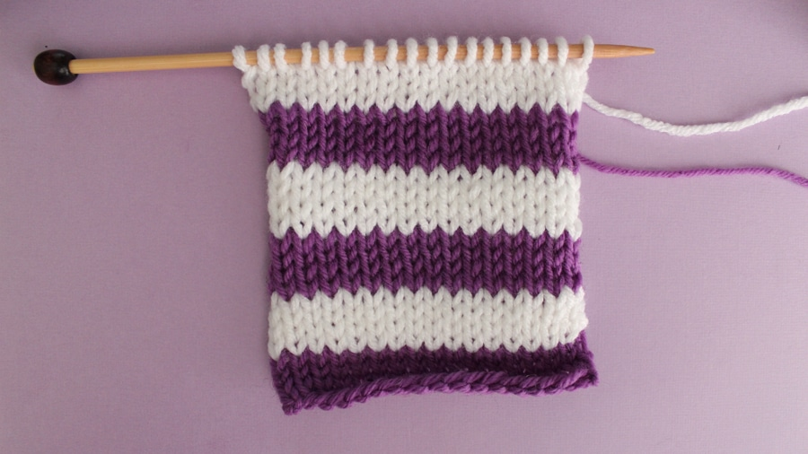 How to Knit Stripes with Studio Knit - Stockinette Stitch Pattern