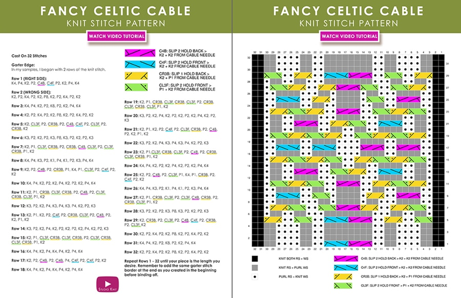 Pattern Download How to Knit a Fancy Celtic Cable Pattern with Studio Knit