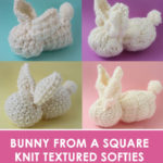 Bunny Softies with Different Free Bunny Knit Stitch Patterns and video tutorial by Studio Knit