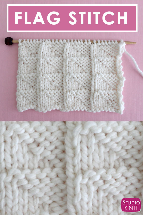 Learn to Knit this Flag Knit Stitch Pattern for Beginning Knitters with Video Tutorial by Studio Knit