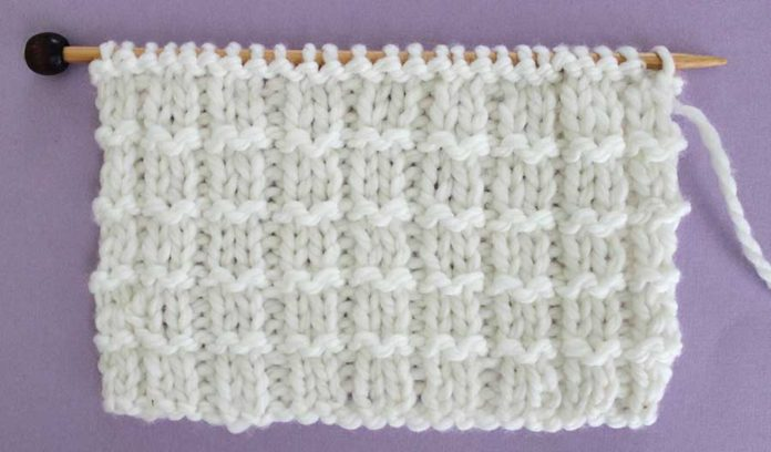 Right Side of Pique Rib Knit Stitch Pattern by Studio Knit with Free Pattern and Chart