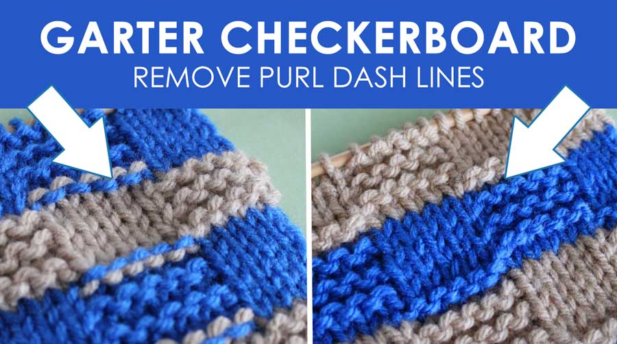 Garter Checkerboard Knit Stitch Pattern with Stripes. How to Remove Purl Dash Lines - Knit Stripes with Studio Knit