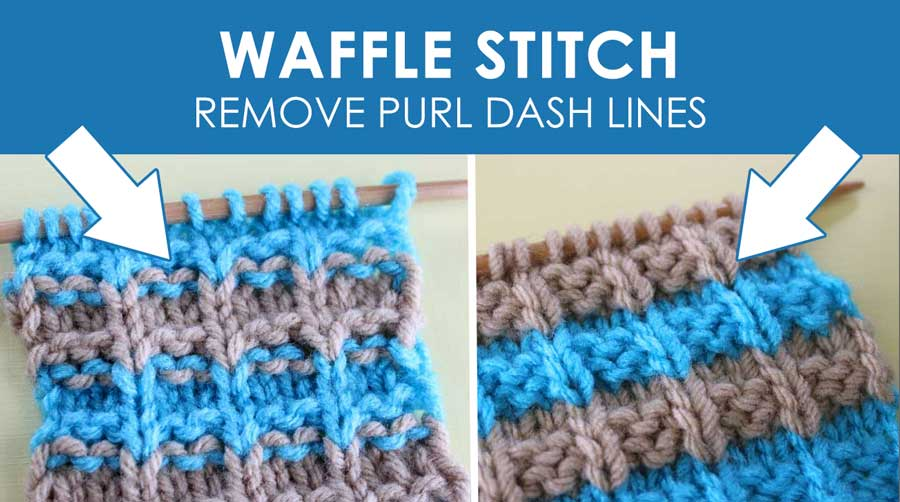 Waffle Knit Stitch Pattern with Stripes. How to Remove Purl Dash Lines - Knit Stripes with Studio Knit