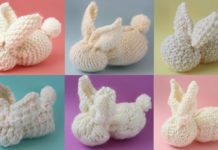 Bunny Softies with 6 Different Free Bunny Knit Stitch Patterns and video tutorial by Studio Knit