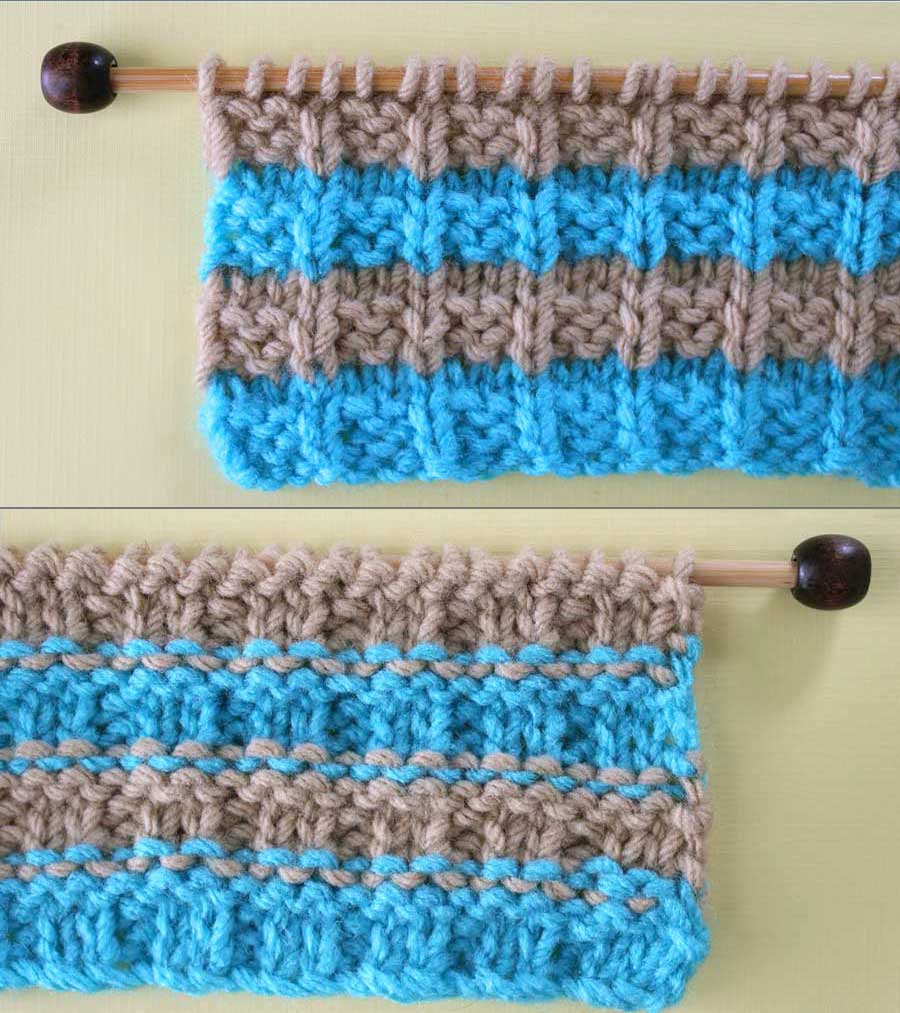 Right and Wrong Sides of Waffle Knit Stitch Pattern with Stripes. How to Remove Purl Dash Lines - Knit Stripes with Studio Knit