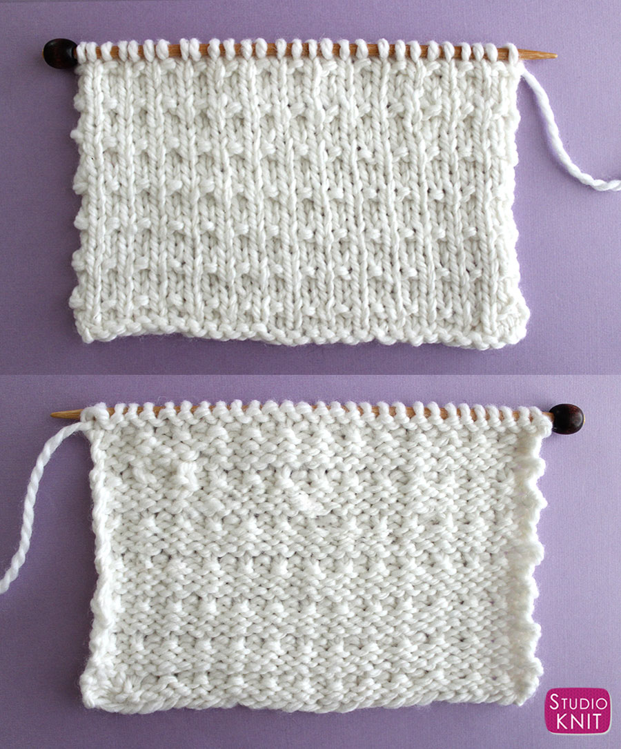 Right and Wrong Sides of Knitted Work - Andalusian Knit Stitch Pattern by Studio Knit with Free Pattern and Video Tutorial.