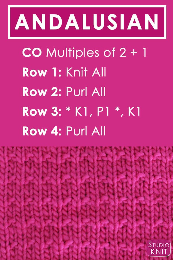 Andalusian Knit Stitch Pattern Free Instructions by Studio Knit with Video Tutorial
