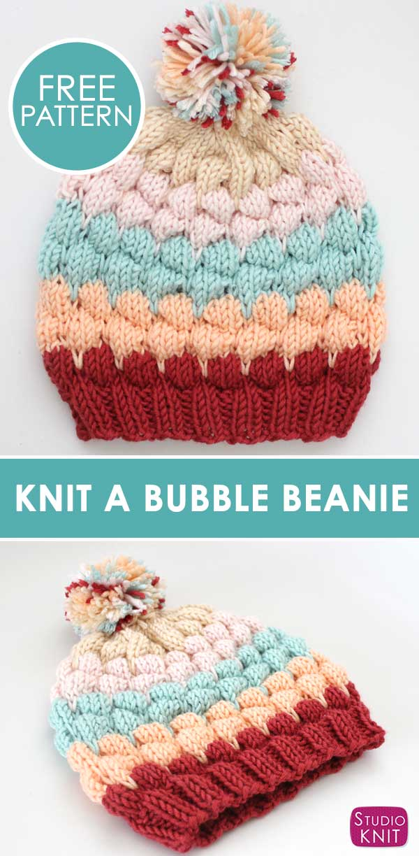 How to Knit a Bubble Beanie Hat by Studio Knit with Free Pattern and Caron x Pantone yarn.
