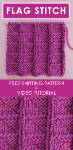 Easy FLAG Knit Stitch Free Pattern with Video Tutorial by Studio Knit