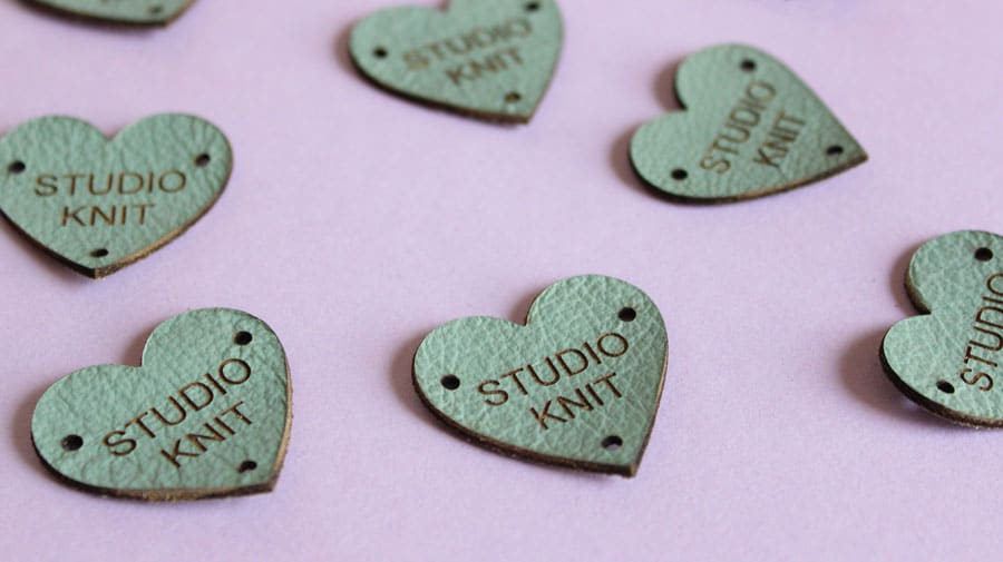 Custom Leather Heart Knitting Labels by AllThisWood for Studio Knit