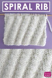 Diagonal Spiral Rib Knit Stitch Pattern and Chart with Studio Knit
