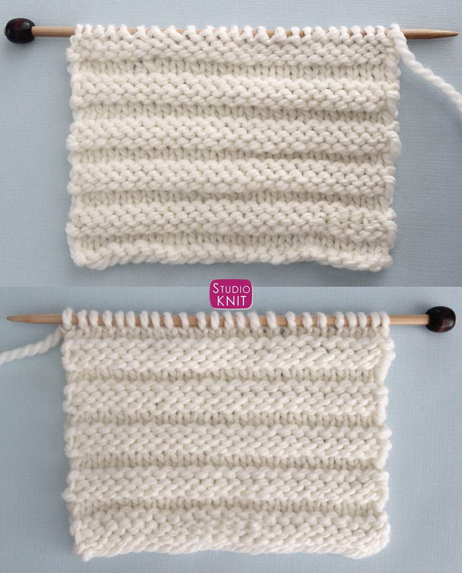 Reverse Ridge Knit Stitch Pattern with Video Tutorial by Studio Knit - Easy Knit and Purl Knitting Stitches