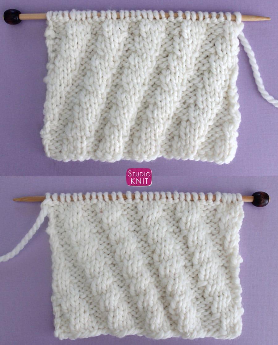 The Diagonal Spiral Rib Knit Stitch is a reversible pattern