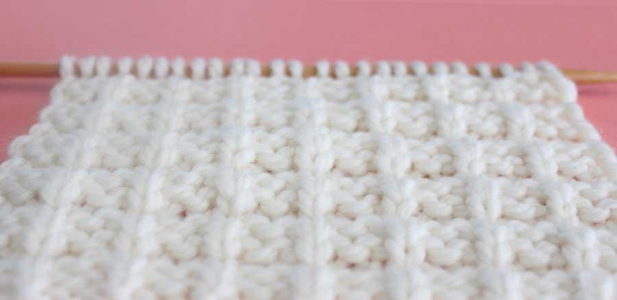 Close-Up Texture of Waffle Knit Stitch Pattern by Studio Knit