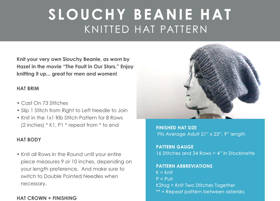 Slouchy Beanie Knitting Pattern