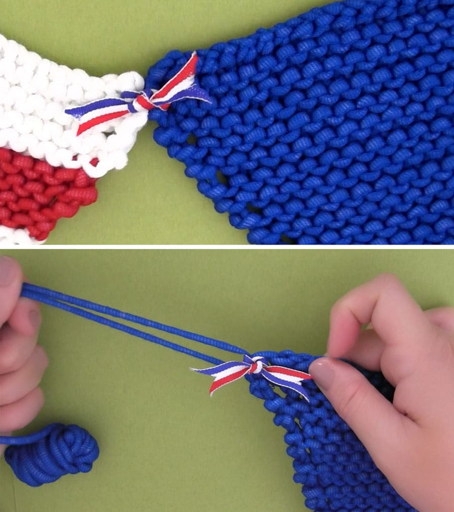 Attaching Triangles for Pennant Banner Knitting Pattern by Studio Knit